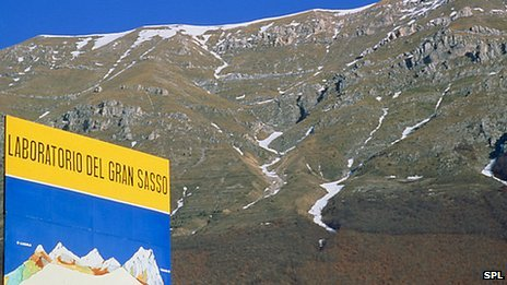 The neutrinos are fired deep under the Italian Apennines to the Gran Sasso lab