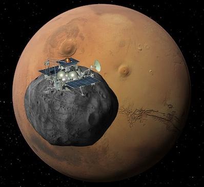 Artist's concept of the Phobos-Grunt lander at Mars.Credit: Roscosmos