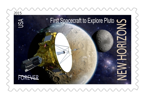 Artist Dan Durda's concept for a U.S. postage stamp honoring the New Horizons mission to Pluto. The probe's team has launched an online petition to make the stamp a reality CREDIT: NASA/SWRI/Dan Durda