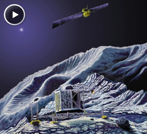 An artist's concept of Rosetta in orbit while the mission's lander explores the comet's surface