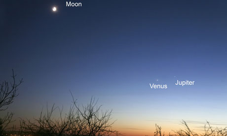 A crescent moon hangs in the sky above Venus (on the left) and Jupiter in the evening sky in 2008. Photograph: Jamie Cooper/Getty Images