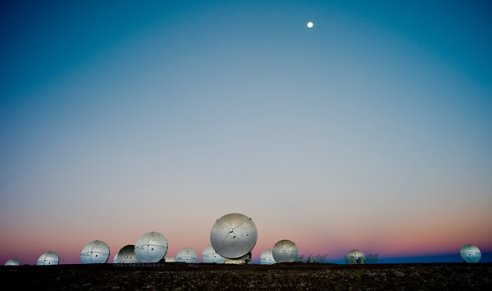 Antennas of the Atacama Large Millimeter/submillimeter Array being installed, 16,597 feet above sea level