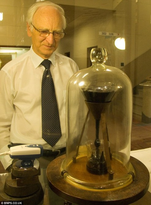 A lump of the black substance, which can be broken with a hammer, was put into a glass funnel - and the waiting began.The experiment has been running now for 85 years and it is estimated that it will last for another century