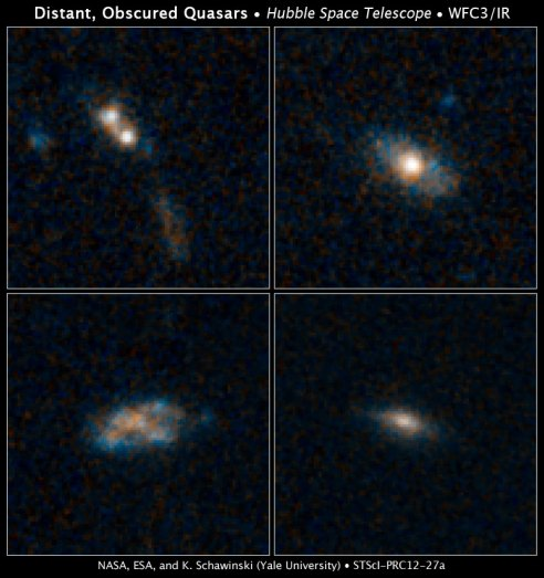 The galaxies in these four images have so much dust surrounding them that the brilliant light from their quasars cannot be seen in these Hubble Space Telescope images. Quasars are the brilliant beacons of light that are powered by black holes feasting on captured material, and in the process, heating some of the matter to millions of degrees. The images at top right, bottom left, and bottom right reveal three of the survey's normal-looking galaxies that host quasars. Only one galaxy in the sample, at top left, shows evidence of an interaction with another galaxy. The two white blobs are the cores from both galaxies. A streamer of material, colored brown and blue, also lies below the merging galaxies.The galaxies existed roughly 8 billion to 12 billion years ago, during a peak epoch of black-hole growth. The galaxies' masses are comparable to our Milky Way's. The blue patches are star-forming regions. The brown areas are either dust or old stars. The images were taken by Hubble's Wide Field Camera 3 between 2011 and 2012. Credit: NASA, ESA, and K. Schawinski (Yale University)