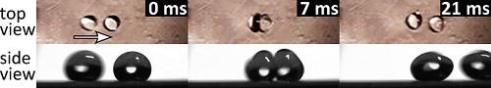 Water droplets moving on a superhydrophobic surface collide with each other and rebound like billiard balls. (Credit: Image courtesy of Aalto University)