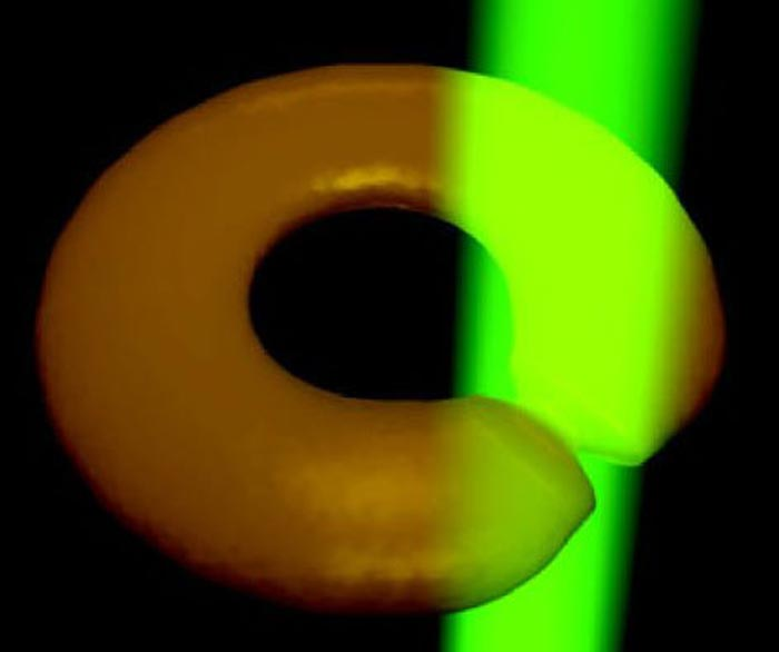 Illustration of how the BEC torus is cut by a green laser. The laser is rotated about the axis of the torus such that the cut moves through the torus. (Courtesy: K C Wright et al. 2013 Phys. Rev. Lett.)