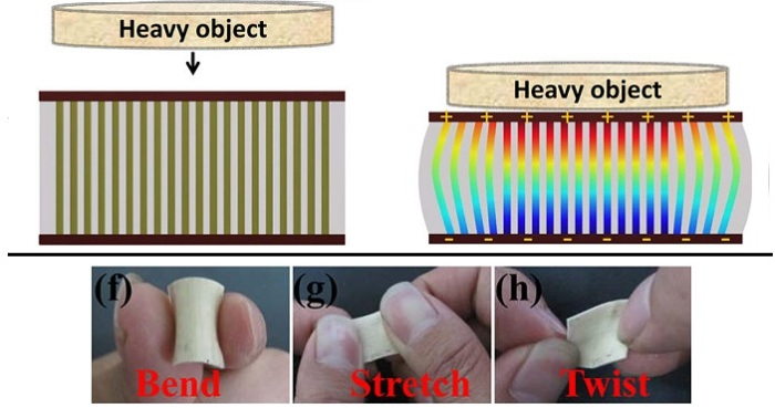 (Top) The nanogenerator produces a voltage under a periodic mechanical deformation. In the deformed nanogenerator, the red and blue regions indicate a positive and negative piezoelectric potential, respectively. (Bottom) Optical photographs of the nanowire array showing its flexibility and robustness. Credit: Long Gu, et al. ©2012 American Chemical Society
