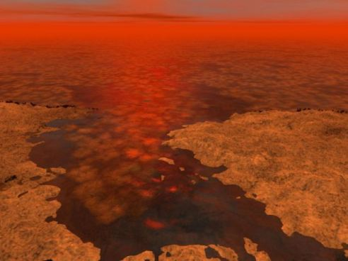 An artist's impression of the hydrocarbon 'icebergs' on Titan scientists believe could harbour an exotic form of life