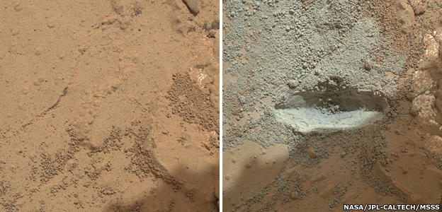 Before and after: Curiosity uses its drill system for the first time