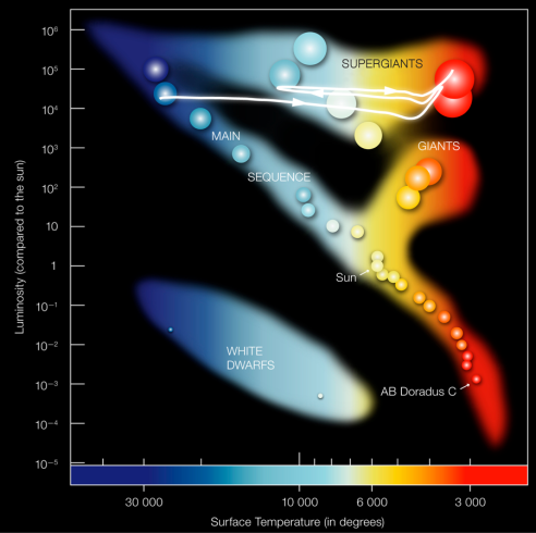 "This Hertzsprung-Russell (HR) diagram shows stellar populations ordered according to brightness (vertical axis) and surface temperature or color (horizontal axis). Different types of stars populate characteristic regions in this diagram and a few specific nearby stars are indicated here. The ""main sequence"" consists of hydrogen-burning stars like our Sun, whose brightness and color depend on stellar mass. Red giants are stars in advanced burning phases, notably the helium-burning phase. At the end of this phase they execute a well-established ""blue loop"" of brief contraction and re-expansion (white line with arrows). According to Friedland et al., this behavior would be suppressed by excessive emission of the hypothetical axions."