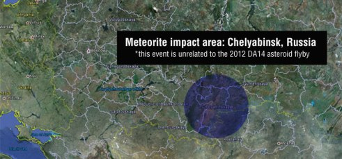 A meteor seen flying over Russia on Feb. 15 at 3:20: 26 UTC impacted Chelyabinsk.