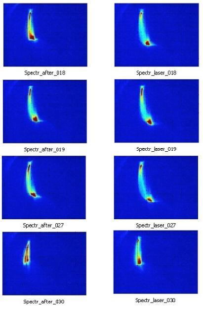 Each row of two frames represents one snapshot-pair of laser on (on the right side) and laser off (on the left side) with unchanged configuration. One can see a clear increase from these pictures, proof that the laser accelerates the 20 mega electron volts electron beam in vacuum. Pictures of the beam momentum spread after the spectrometer taken with the laser off (left column) and the laser on (right column). The length of the beam image reveals the energy spread of the beam. The experiment recorded 30 shots. Twenty shots were high intensity and showed effects of the laser on/laser off difference. Four shot examples are shown here. Pictures are taken from spectrometer on Beam Line #1 at BNL-ATF.