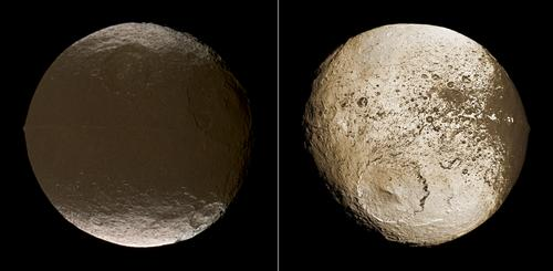These two global images of Iapetus show the extreme brightness dichotomy on the surface of this peculiar Saturnian moon. The left-hand panel shows the moon's leading hemisphere and the right-hand panel shows the moon's trailing side.