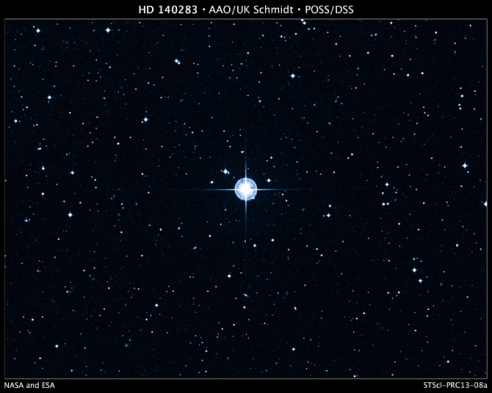 This is a Digitized Sky Survey image of the oldest star with a well-determined age in our galaxy. The aging star, cataloged as HD 140283, lies 190.1 light-years away. The Anglo-Australian Observatory (AAO) UK Schmidt telescope photographed the star in blue light. Credit: Digitized Sky Survey (DSS), STScI/AURA, Palomar/Caltech, and UKSTU/AAO