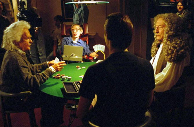 """Not a Gambler? Lt. Commander Data plays a game of poker with holographic representations of Sir Isaac Newton, Albert Einstein, and Stephen Hawking in the 1993 Star Trek: TNG episode """"Descent."""" Credit: Paramount Domestic"""
