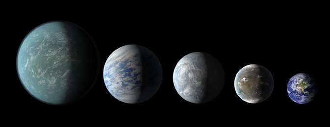 elative sizes of Kepler habitable zone planets discovered as of April 18, 2013. Left to right: Kepler-22b, Kepler-69c, Kepler-62e, Kepler-62f, and Earth (except for Earth, these are artists' renditions). Image credit: NASA Ames/JPL-Caltech