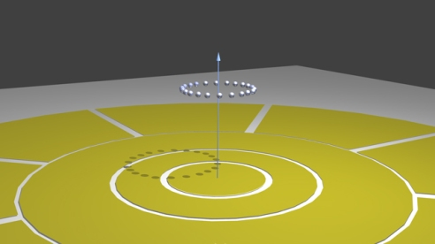 """Sketch of ion ring. An illustration of the time crystal experiment planned at UC-Berkeley. Electric fields will be used to corral calcium ions into a 100-micron-wide """"trap,"""" where they will form a crystalline ring. The scientists believe a static magnetic field will cause the ring to rotate. (Illustration: Courtesy of Hartmut Häffner)"""
