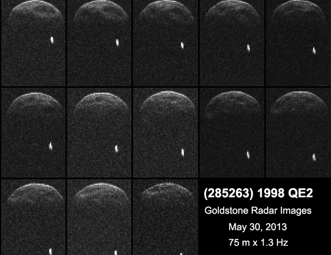 First radar images of asteroid 1998 QE2 were obtained when the asteroid was about 3.75 million miles (6 million kilometers) from Earth. Image credit: NASA/JPL-Caltech/GSSR