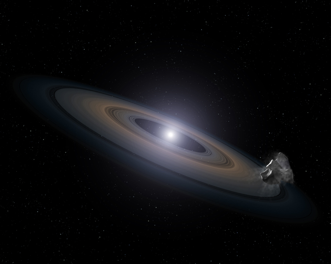 This is an artist's impression of a white dwarf (burned-out) star accreting rocky debris left behind by the star's surviving planetary system. It was observed by Hubble in the Hyades star cluster. At lower right, an asteroid can be seen falling toward a Saturn-like disk of dust that is encircling the dead star. Infalling asteroids pollute the white dwarf's atmosphere with silicon. Credit: NASA, ESA, and G. Bacon (STScI)
