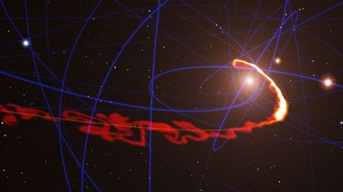 The gas cloud is being stretched out by the gravity of our galaxy's central black hole