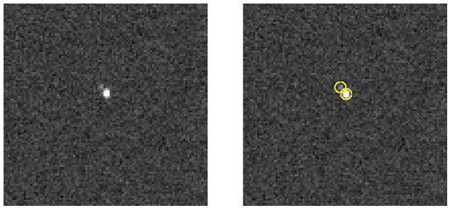 Pluto and Charon: New Horizons LOng Range Reconnaissance Imager (LORRI) composite image showing the detection of Pluto's largest moon, Charon, cleanly separated from Pluto itself. The frame on the left is an average of six different LORRI images, each taken with an exposure time of 0.1 second. The frame to the right is the same composite image but with Pluto and Charon circled; Pluto is the brighter object near the center and Charon is the fainter object near its 11 o'clock position. The circles also denote the predicted locations of the objects, showing that Charon is where the team expects it to be, relative to Pluto. No other Pluto system objects are seen in these images. When these images were taken on July 1 and July 3, 2013, the New Horizons spacecraft was still about 550 million miles (880 million kilometers) from Pluto. On July 14, 2015, the spacecraft is scheduled to pass just 7,750 miles (12,500 kilometers) above Pluto's surface, where LORRI will be able to spot features about the size of a football field.  (Credit: NASA/Johns Hopkins University Applied Physics Laboratory/Southwest Research Institute)