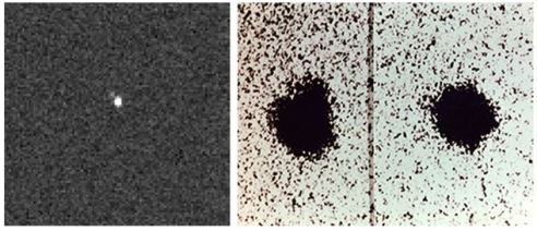 "35 Years Later: Charon is visible as a ""bump"" moving around Pluto in the moon's discovery images (right), taken with the 1.55-meter (61-inch) Kaj Strand Astrometric Reflector at the U.S. Naval Observatory's Flagstaff Station in 1978. More than three decades later, Charon is visible for the first time in pictures (left) taken by the Pluto-bound New Horizons spacecraft."