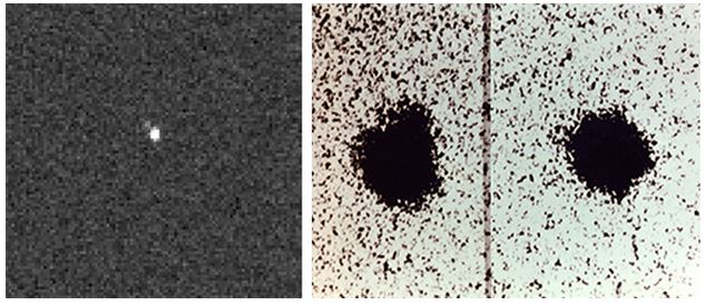 """35 Years Later: Charon is visible as a """"bump"""" moving around Pluto in the moon's discovery images (right), taken with the 1.55-meter (61-inch) Kaj Strand Astrometric Reflector at the U.S. Naval Observatory's Flagstaff Station in 1978. More than three decades later, Charon is visible for the first time in pictures (left) taken by the Pluto-bound New Horizons spacecraft."""
