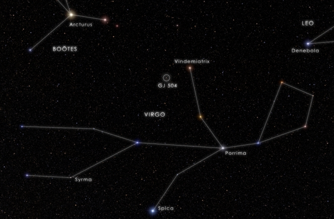 This chart locates the fifth-magnitude star GJ 504, also known as 59 Virginis, which is visible to the unaided eye from suburban skies. Image Credit: NASA's Goddard Space Flight Center