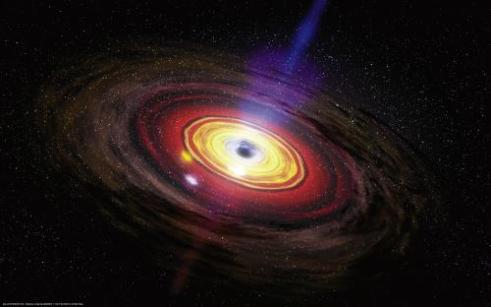 An artist's conception of a black hole generating a jet. Two million years ago the supermassive black hole at the center of our galaxy was 100 million times more powerful than it is today. Credit: NASA/Dana Berry/SkyWorks Digital  Read more at: http://phys.org/news/2013-09-dating-galaxy-dormant-volcano.html#jCp