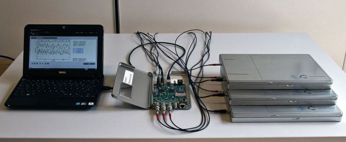 Overview of the CosMO setup in operation with three scintillator boxes (right), the DAQ card (center), and the readout netbook with the graphical user interface (left)