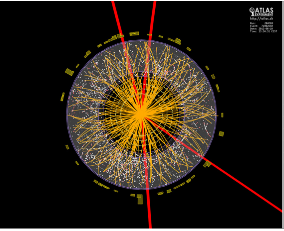 A possible discovery in the ATLAS detector shows tracks of four muons (red) that have been created by the decay of the short-lived Higgs particle. Image: CERN, http://cds.cern.ch/record/1459496