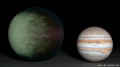 epler-7b, compared in this artist's impression with Jupiter, is the first exoplanet to have its clouds mapped