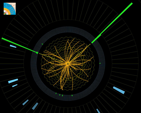 A Higgs particle can have been created and almost instantly decayed into two photons. Their tracks (green) are visible here in the CMS detector. Image: CERN, http://cds.cern.ch/record/1459459