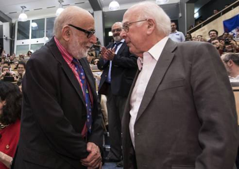 François Englert and Peter Higgs meet for the first time, at CERN when the discovery of a Higgs particle was announced to the world on 4 July 2012. Photo: CERN, http://cds.cern.ch/record/1459503