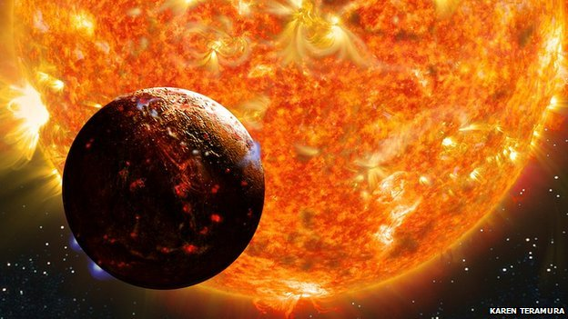 Kepler-78b is a planet that shouldn't exist. This scorching lava world, shown here in an artist's conception, circles its star every eight and a half hours at a distance of less than one million miles. According to current theories of planet formation, it couldn't have formed so close to its star, nor could it have moved there