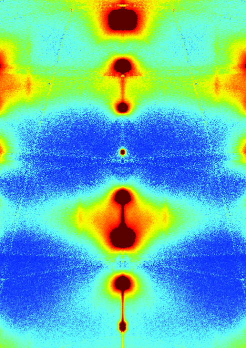 This image shows the result of diffuse scattering on the high-temperature superconductor, which is the first of the two stages in the experiment. The coloured areas enable to identify the wavelength of the phonons where the coupling with the electrons is taking place. Credit: MPI Stuttgart/M. Le Tacon