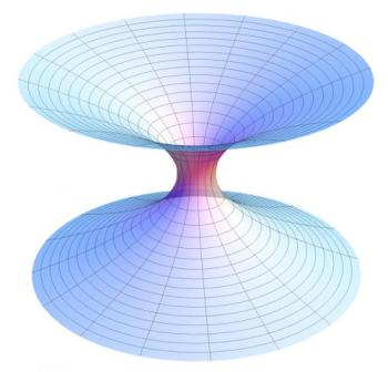 """A diagram of a wormhole, a hypothetical """"shortcut"""" through the universe, where its two ends are each in separate points in spacetime. Credit: Wikipedia"""