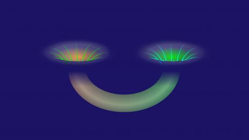 This illustration demonstrates a wormhole connecting two black holes. Credit: Alan Stonebraker/American Physical Society