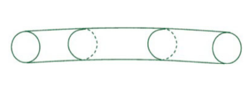 To explain why a fth dimension might be unobserved in everyday life, Einstein and Bergmann describe a long thin tube, as sketched here. (The drawing that actually appears in their paper shows instead a thin at strip, which illustrates the same idea.)