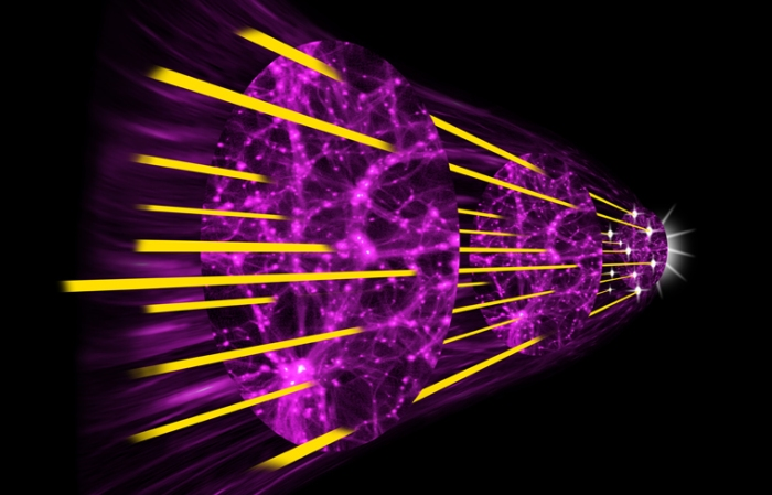 An illustration of how astronomers used quasar light to trace the expansion of the universe. + MORE + Credit: Paul Hooper at Spirit Design, with Mat Pieri and Gongbo Zhao, ICG