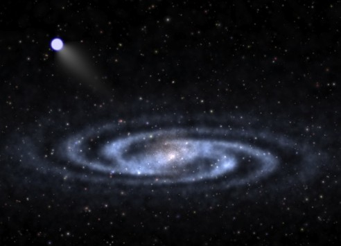 "An astrophysicist-artist's conception of a hypervelocity star speeding away from the visible part of a spiral galaxy like our Milky Way and into the invisible halo of mysterious ""dark matter"" that surrounds the galaxy's visible portions. University of Utah researcher Zheng Zheng and colleagues in the U.S. and China discovered the closest bright hypervelocity star yet found. Credit: Ben Bromley, University of Utah"