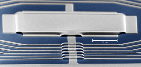 The tiny aluminum device—only 40 microns long and 100 nanometers thick—in which Caltech researchers observed the quantum noise from microwaves. Credit: Chan Lei and Keith Schwab/Caltech - See more at: http://www.caltech.edu/content/tricking-uncertainty-principle#sthash.lcfnA3hr.dpuf