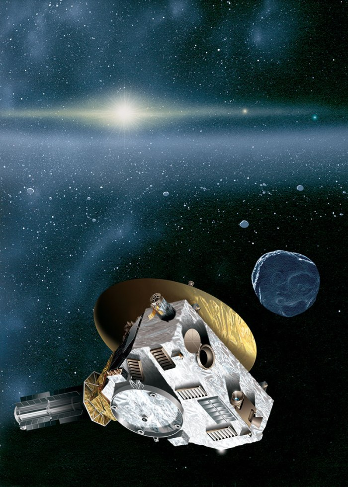 """This is an artist's rendering of the New Horizons spacecraft encountering a Kuiper Belt object — a city-sized icy relic left over from the birth of our solar system. The sun, more than 4.1 billion miles (6.7 billion kilometers) away, shines as a bright star embedded in the glow of the zodiacal dust cloud. Jupiter and Neptune are visible as orange and blue """"stars"""" to the right of the sun. Image Credit: JHUAPL/SwRI"""