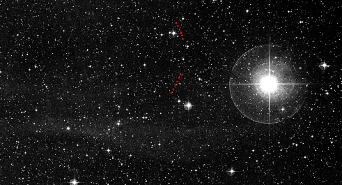 The track of Pluto across the night sky, as seen from 8 to 20 May 1997 when it was moving southwards in the direction of the constellation of Scorpius. North is at the top in this image. The superimposed red points are the moving point that the JCMT measured for the whole system of Pluto and its moons. Credit: Jane Greaves & George Bendo. Read more at: http://phys.org/news/2014-06-telescope-ice-pluto.html#jCp