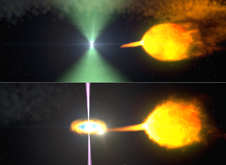 These artist's renderings show one model of pulsar J1023 before (top) and after (bottom) its radio beacon (green) vanished. Normally, the pulsar's wind staves off the companion's gas stream. When the stream surges, an accretion disk forms and gamma-ray particle jets (magenta) obscure the radio beam. Image Credit: NASA's Goddard Space Flight Center