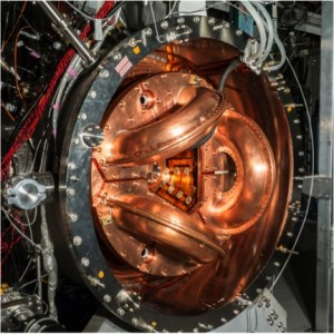 The UW's current fusion experiment, HIT-SI3. It is about one-tenth the size of the power-producing dynomak concept.U of Washington