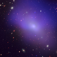 Elliptical galaxy NGC 1132, as seen by NASA's Chandra X-Ray Observatory; the blue/purple in the image is the X-ray glow from hot, diffuse gas that is not forming into stars. (Credit: NASA, ESA, M. West (ESO, Chile), and CXC/Penn State University/G. Garmire, et al.