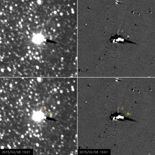 The moons Nix and Hydra are visible in a series of images taken by the New Horizons spacecraft. Image Credit: NASA/Johns Hopkins APL/Southwest Research Institute
