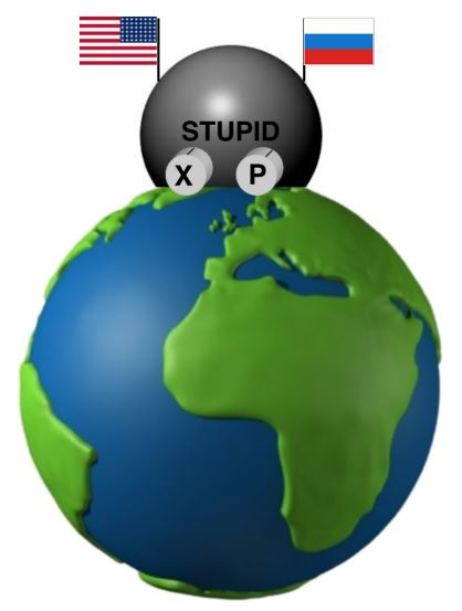 We humans have invested great resources and ingenuity in building the Spectacular  Thermonuclear Unpredictable Population Incineration Device, (acronym S.T.U.P.I.D.), whose two adjustable knobs determine its explosive power X and the probability P that it goes off spontaneously in any given year.