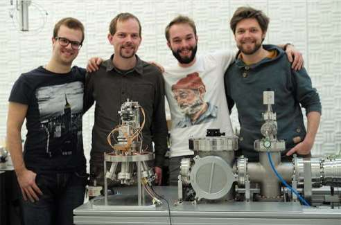 From left to right, IBM scientists Nico Mosso, Bernd Gotsmann, Fabian Motzfeld and Fabian Menges in the Noise Free Lab with the scanning probe thermometer.